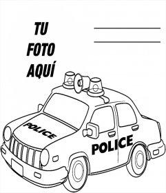 Fotomontaje Para Imprimir Y Colorear Un Carro De Policía