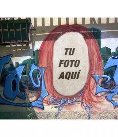 Fotomontaje de un graffiti de una cabeza en el que poner tu cara y crear arte urbano subiendo una imagen.