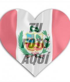 Fotomontaje online para añadir una foto tuya con la bandera de Perú de fondo con forma de corazón