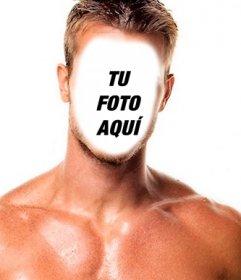 Fotomontaje de un hombre musculoso y fuerte para ponerle cara.