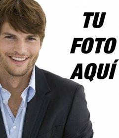 Fotomontaje con Ashton Kutcher vestido de traje con barba de tres días y el pelo corto para tener una foto con él.