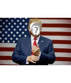 Fotomontaje para simular tu cara en el cuerpo de Donald Trump, el presidente de los Estados Unidos