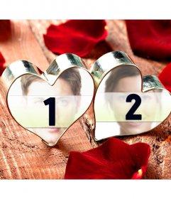Collage de amor con tus dos fotografías en corazones anillo