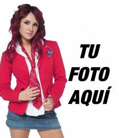 Fotomontaje con Dulce Maria de Rebelde en el uniforme