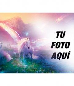 Fotomontaje de fantasia para poner tu foto junto a unicornios blancos en un paisaje de ensueño fantástico.