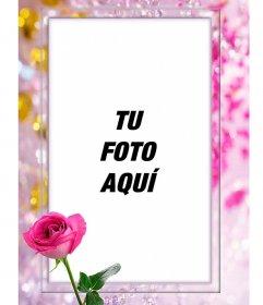 Marco para fotos con una rosa en el que puedes poner tu foto rodeado de perlas bonitas y diamantes