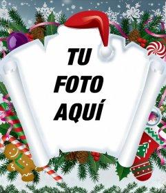 Fotomontaje de Navidad con pergamino y otros artículos navideños