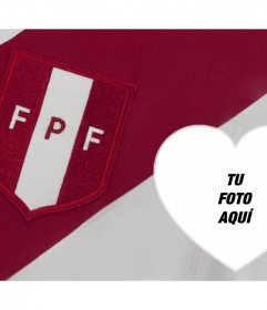 Montaje online del escudo y camisa de fútbol de Perú para tu foto