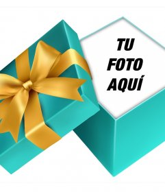 Pon tu foto dentro de un regalo abierto con este montaje online