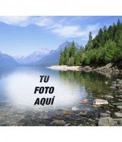 Fotomontaje para poner una foto en el agua de un lago o río al lado de un bosque con árboles y montañas nevadas