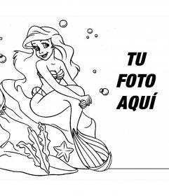 Dibujo para colorear de la Sirenita donde también puedes añadir tu foto