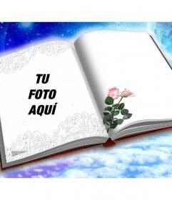 Fotomontaje para poner tu foto en un libro con dos rosas.