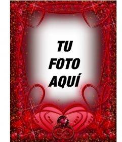 Marco para fotos de color rojo con rubíes y trazos de corazones