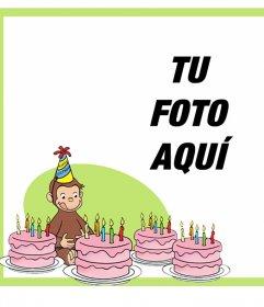 Tarjeta editable de cumpleaños con Jorge El Curioso para tu foto