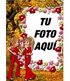 Marco online de fotos de dos amigas hablando y borde de flores. Personalizable con tu foto.