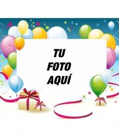 Marco para fotos de cumpleaños con globos y regalos en el ...