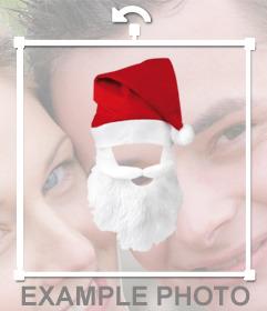 Gorro y barba de Papa Noel para disfrazarte con tus fotos online