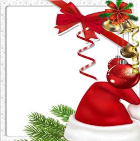 Pon tu foto en este marco de Navidad decorado con un gorro de Santa Claus un lazo roja y decoraciones típicas del árbol de Navidad.