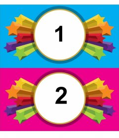 Marco para fotos de estrellas para 2 imágenes, fondos rosa y azul.