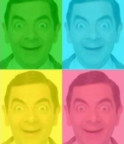 Cuadro de Pop Art personalizado con tu foto, colores verde, azul amarillo y rosa.