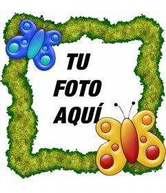 Marco para fotos para poner una foto online con mariposas y fondo verde