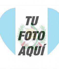 Foto efecto para añadir tu foto dentro de un corazón con la bandera de Guatemala