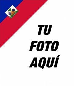 Pon en la esquina de tus fotos la bandera de Haití con este efecto online