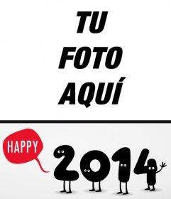 Postal de Navidad con números del 2014 felicitando el año nuevo.