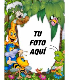 Marco para fotos infantil con animales felices donde puedes poner tu foto