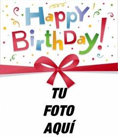 Marco para fotos de una postal o tarjeta de felicitación de cumpleaños muy colorida, la que podrás personalizar incluyendo la fotografía de tu elección.