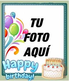 Postal de felicitación de cumpleaños personalizable con una foto. Montaje que añade un marco y un happy birthday en azul.