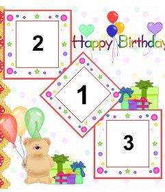 Postal / felicitación de cumpleaños para 3 fotos con osito de peluche globos y regalos.