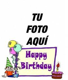 Postal de cumpleaños para niño para poner de fondo una foto