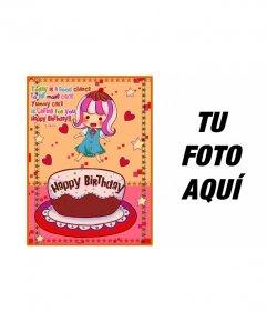 Tarjeta de cumpleaños para niños. Con una foto de una niña con un pastel, corazones y estrellas