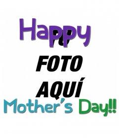 Tarjeta para felicitar el día de la madre con texto en colores(en inglés)