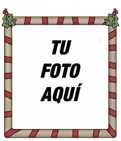 Marco de fotos holly Jolly Christmas. Perfecto para poner tu foto de fondo y enviarlo como felicitación.