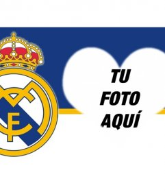 Montaje para fotos para poner tu foto junto al escudo del Real Madrid con forma de corazón.