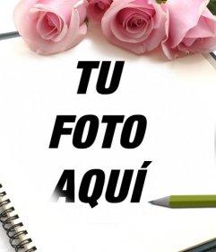 Marco de rosas para fotos en el que puedes añadir una imagen en una libreta.