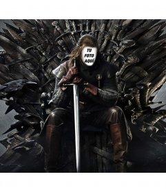 Foto montaje de Ned Stark en el trono de hierro para añadir tu cara
