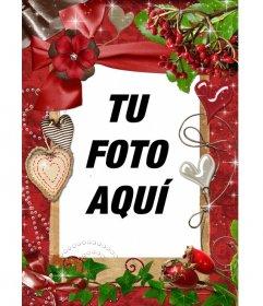 Marco rojo rectangular para una fotografía. Vemos motivos vegetales y corazones de nácar y trapo. Para felicitar este San Valentín como complemento a tu regalo
