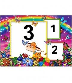 Marco de fotos(3 fotos) con fondo de arcoiris , flores y vaca feliz