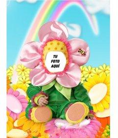 Montaje fotográfico para poner una cara, consistente en un disfraz de flor para niños.
