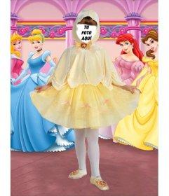 Foto efecto de disfraz de pequeña princesa infantil, para niñas.