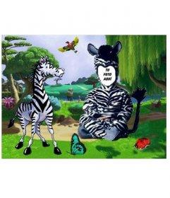Efecto para fotos para poner foto en disfraz de cebra para niños.