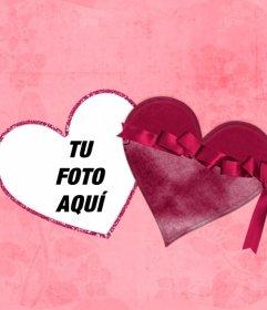 Efecto online de una foto dentro de un corazón como si fuese una caja, con fondo de color rosa