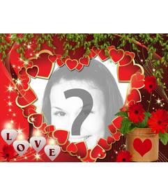 Postal de amor con muchos corazones y el texto LOVE, para poner una foto online.