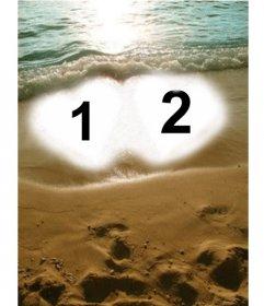 Crea una postal para San Valentín personalizada online. Fondo para dos fotos, que aparecen con dos corazones en la arena de la playa como marco