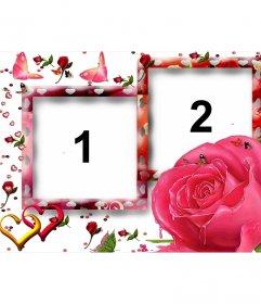 Marco para dos fotografías, con motivos amorosos, como mariposas, rosas y corazones