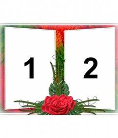 Elegante montaje para dos fotografías en un marco de motivos vegetales verde y rojo