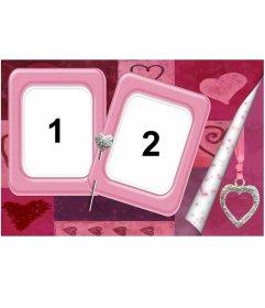 Dos marcos para fotografías de color rosa sujetos con un alfiler